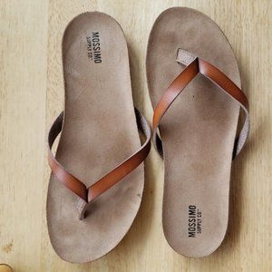Faux leather brown flip flops